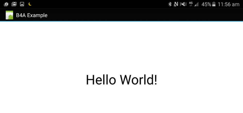 hello world در بیسیک فور اندروید basic4android