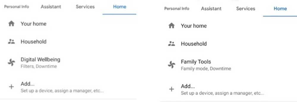 تنظیمات قدیمی و جدید دستیار صوتی گوگل